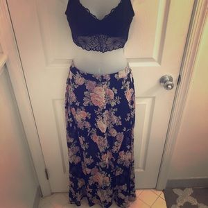 ASTR Floral Print Maxi Skirt